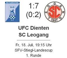 SFV-Stiegl-Cup: UFC Dienten - SC Leogang 1 : 7 (0 : 2)